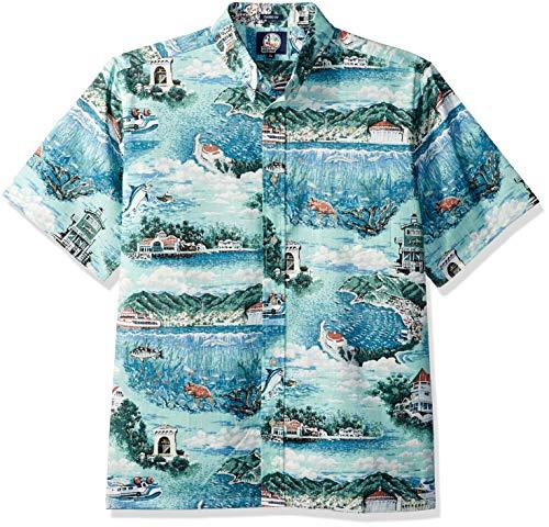 Reyn Spooner Men's Spooner Kloth Classic Fit Hawaiian Shirt, Avalon by The Sea - Ocean Wave, M