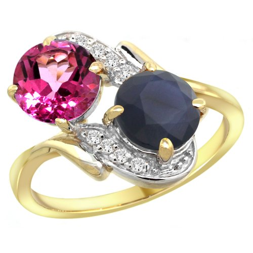 14k Yellow Gold Diamond Natural Pink Topaz & Blue Sapphire Mother's Ring Round 7mm, size 10