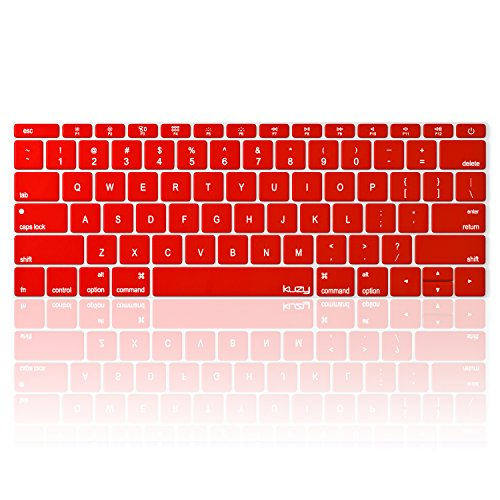 Kuzy - MacBook Pro 13 inch Keyboard Cover for Model A1708 (No TouchBar) and MacBook 12 inch Keyboard Cover for A1534 Silicone Skin - Red
