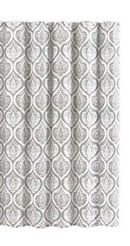 Contemporary Floral Fabric - Martina&Co Grey White Fabric Shower Curtain: Embossed Flower Print in Contemporary Moroccan Design, 70