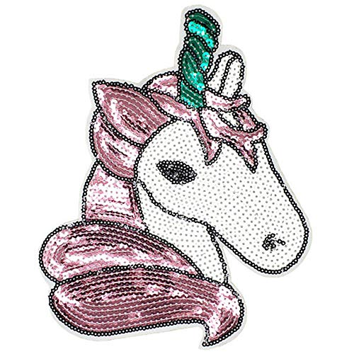 Pbhouse Iron on Patches Unicorn Sequin Embroidered Kids Patches DIY Badge Patches Clothing Cute Patch ()
