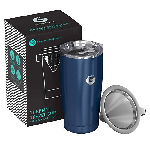 Coffee Gator Pour Over Brewer Mug - All-in-One Thermal Travel Cup and Hand Drip Coffee Maker - Vacuum Insulated Stainless Steel with Paperless Filter - 20 Ounce - Blue