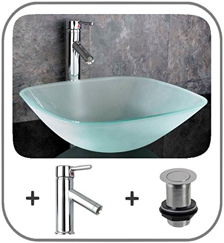 Clickbasin 39cm Frosted Square Glass Terme Washbasin With Tap And Plug