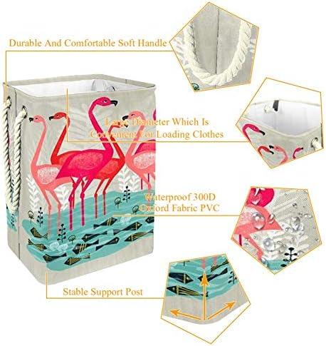 Panier à linge Nobrand Flamingo - Panier à linge pliable - Doublure intégrée avec supports amovibles