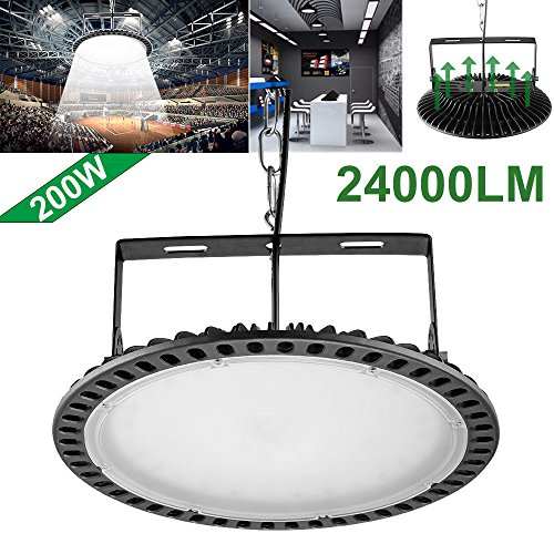 200W Slim UFO LED High Bay Light lamp Factory Warehouse Industrial Lighting Chunnuan,24000 Lumen,6000-6500K,IP54,Waterproof Dust Proof, Warehouse LED Lights- LED High Bay Lighting - (200w Slim) (Warehouse Lighting)