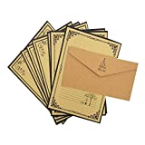 QingLanJian Vintage Lined Kraft Paper Writing Paper with Envelopes Stationary Sets-48 Sheets and 24 Thicken Envelopes,Yellow