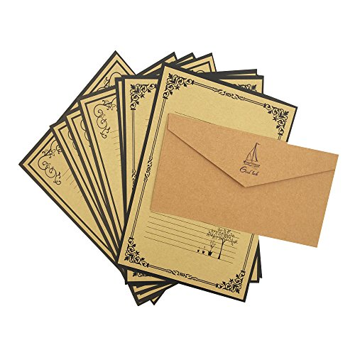 QingLanJian Vintage Lined Kraft Paper Writing Paper with Envelopes Stationary Sets-48 Sheets and 24 Thicken Envelopes,Yellow by QingLanJian