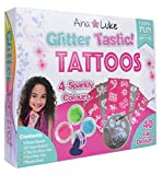 Ana and Luke Glitter Tattoos Kit, Mega Pack for Face, Body for Girls, Kids, 4 Large Pots of Glitter, 40 Adhesive Stencil Temporary Designs, Glue, Brush Perfect Party Set/ Gift for Xmas, New Year