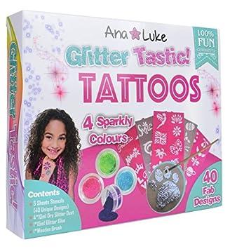 Kit De Tatuajes De Brillo Para Cara Cuerpo Para Ninasninos4 Potes - Juegos-de-tatuajes-para-nios