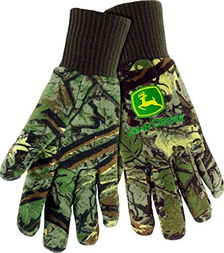 West Chester John Deere JD90001 Knit Polyester/Cotton Insulated Jersey Work Gloves: Camo, One Size Fits Most, 1 Pair
