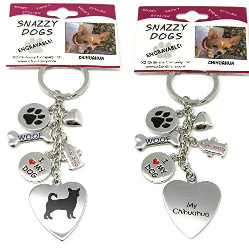 Chihuahua Keychain for Women, Girls, Boys, Men - Engraved Stainless Steel Dog Key Ring with Charms - Cute I Love My Dog Key Fob Gift - Cute Pet Accessories by Frogsac USA ()