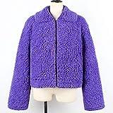 Xchenda Fashion Women Plus Size Long Sleeve Warm Artificial Wool Coat Zipper Parka Coat Outerwear (3XL, Purple)
