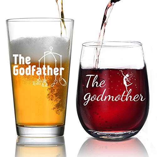 Godparent Gifts - Personalized Godparent Gift,Godmother Wine Glass, Baptism Gift for Godparent, Christening -