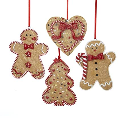 gingerbread men tree and heart ornament set of 4 - Gingerbread Christmas Tree Decorations