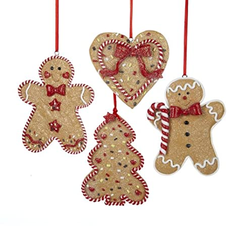 Gingerbread Christmas Tree.Gingerbread Men Tree And Heart Ornament Set Of 4