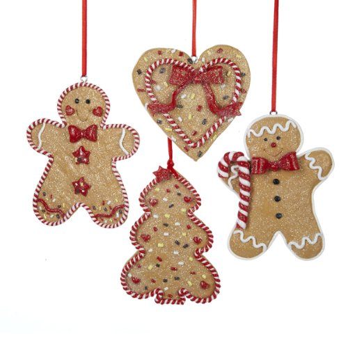 amazoncom gingerbread men tree and heart ornament set of 4 home kitchen - Gingerbread Christmas Decorations