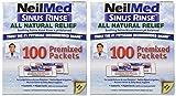 NeilMed Sinus Rinse 100 Salt Premixed Packets for Allergies & Sinus (Pack of 2)