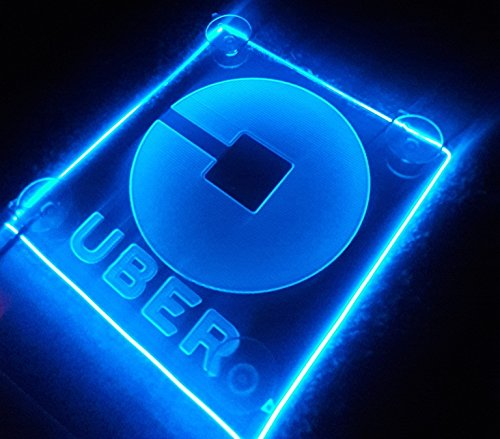 Uber Sign Acrylic Engraving lit Neon Super Strong Suction uber,Lyft AA Batteries in 4 Colors (Blue)