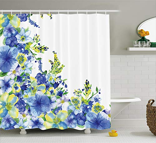 Ambesonne Watercolor Flower Shower Curtain, Motley Floret Motifs with Splash Anemone Iris Revival of Nature Theme, Cloth Fabric Bathroom Decor Set with Hooks, 70