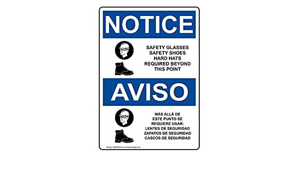 ComplianceSigns Aluminum OSHA NOTICE Sign, 14 x 10 in. with PPE - Multiple Info in English + Spanish, White: Amazon.com: Industrial & Scientific