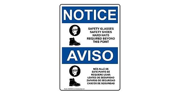 ComplianceSigns Aluminum OSHA NOTICE Sign, 14 x 10 in. with PPE - Multiple Info in English + Spanish, White: Amazon.com: Industrial & Scientific