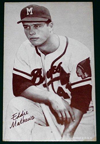 1947-66 Exhibits Arcade BB-Eddie Mathews- Milwaukee Braves- Variety: Correct name spelling- Blank (Exhibit Arcade)