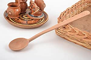 Handmade Eco Friendly Polished Boiled Beech Wood Tea Spoon With Long Handle