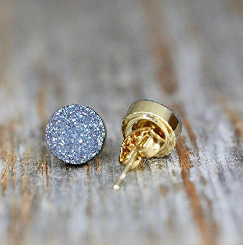 Blue Violet Gray Druzy Round Circle Stud Earrings Genuine Drusy Gemstone -8mm