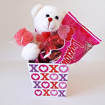 Valentines Day Gift Box Set Chocolate Heart Candy Flower Plush ...