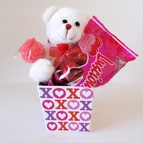 Valentines Day Gift Box Set Chocolate Heart Candy Flower Plush Bear