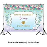 Allenjoy 7x5ft Under The Sea Little Mermaid Backdrop Purple pink Mermaid Scales Glare Glitter ocean Nautical Birthday party banner background