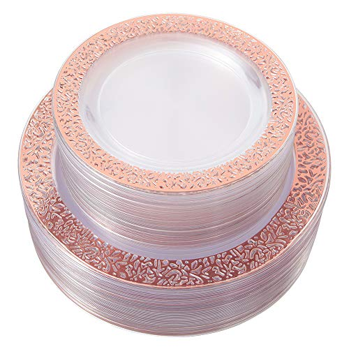 96pcs Rose Gold Plastic Plates, Disposable Plates with Lace Rim, Clear Plates for Party Includes: 48 Dinner Plates 10.25 Inch and 48 Salad/Dessert Plates 7.5 -
