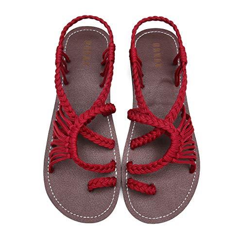 MEGNYA Flat Sandals for Women Braided Strap Beach ShoesZD001-W5-10 BD Wine Red