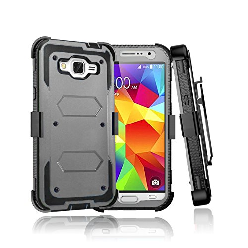 Galaxy Core Prime Case, Bestselling Shop Shock Absorbing [Built-in Screen] Holster Locking Belt Clip Defender Heavy Duty Case Cover Shell For Samsung Galaxy Core Prime / Prevail LTE Case (Ash Gray)
