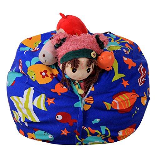 Hot Sale! AMA(TM) Stuffed Animal Storage Bean Bag Chair Kids Plush Toys Towels Blankets Storage (T)