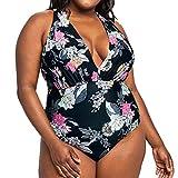 Women's Retro Vintage One Piece Tankini Plus Size Print V Neck Swimwear Bikini Beachwear M-3XL