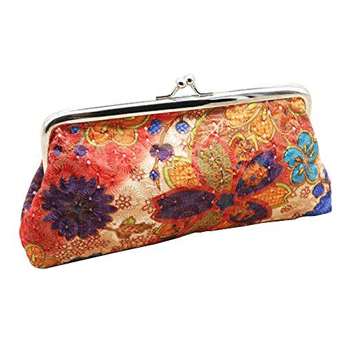 Embroidery Flower Handbag Hasp Coin Purse Pouch Wallet Clutch Bag (Orange) Orange