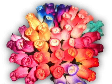 24 Mixed Roses Bouquet - 2 Dozen 24 Mixed Color Bouquet of Wooden Rose Buds Artificial Flower
