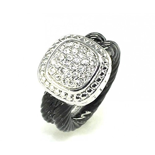 HamptonGems Designer Inspired, Double Black Cable Ring with Round OR Square Pave Crystals (Square, 7)
