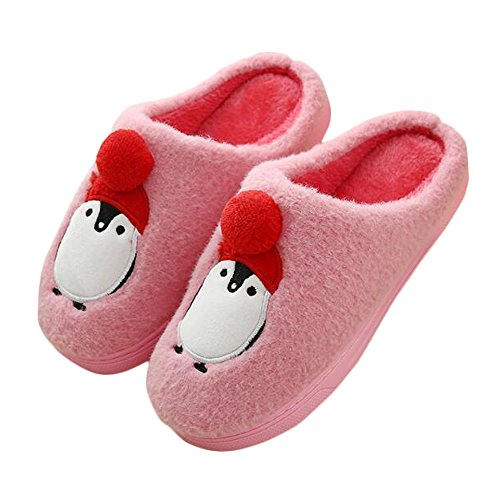 - JadeRich Unisex Penguin Pattern Solid Plush Warm Indoor Slippers