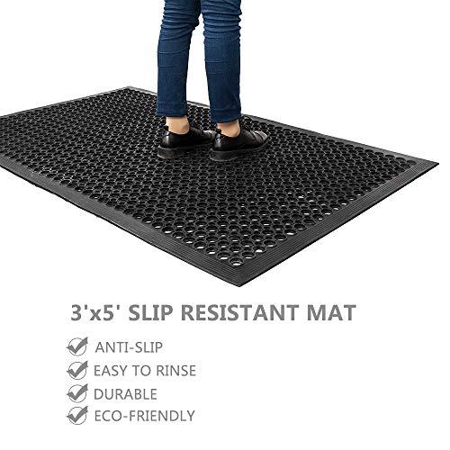ROVSUN Rubber Floor Mat, 36''x60'' Anti-Fatigue/Non-Slip Drainage Mat, for Industrial Kitchen Restaurant Bar Bathroom, Indoor/Outdoor Cushion by ROVSUN (Image #1)