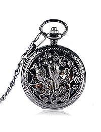 Vintage Pocket Watch, Black Hollow Birds Flowers Case Skeleton Pocket Watch for Men, Hand Wind Mechanical Pocket Watches Gift - WuHu Ren Store