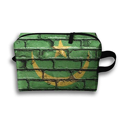 Honorable Flag Mauritania Nation Brick Wall Oxford Fabric Cosmetic Bag,makeup Bag,Multifunction Storage Portable Bag For Travel