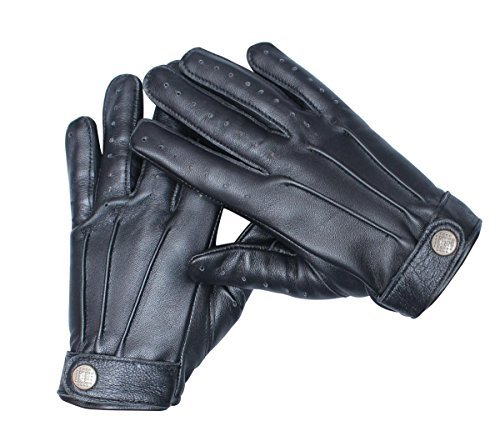 Driving Real Leather Black Gloves for Mens (S)