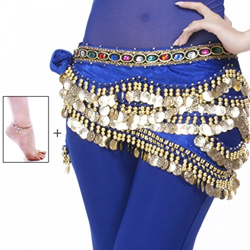 Mutreso Belly Dance Hip Scarf with 328 Gold Coins 150cm Colorful Gem Belt Profession Velvet Performance Skirt Hip Wrap Royal (Indian Dance Costumes And Accessories)