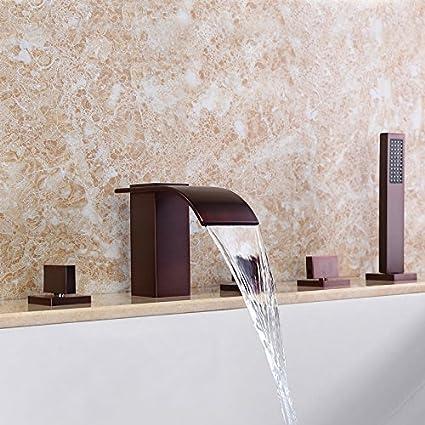 Lovedima Solid Brass 5-Hole Waterfall Deck Mount Bathroom Roman Tub ...
