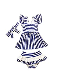 CHUNG Baby Toddler Little Girls Stripe two Pieces Tankini Swimsuits 6M-5Y