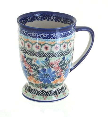 (Vena Blue Rose Polish Pottery Ashley Pedestal Coffee Mug)