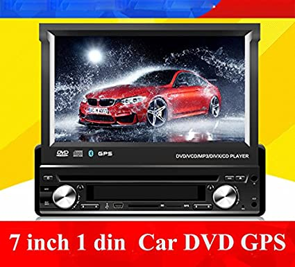 Universal Single DIN 7 pulgadas coche DVD GPS reproductor, manualmente retráctil pantalla Bluetooth, Radio