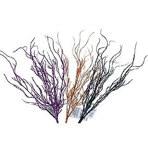 14 Inch Glittery Halloween Branches Purple Orange and Black (Set of 3) 8